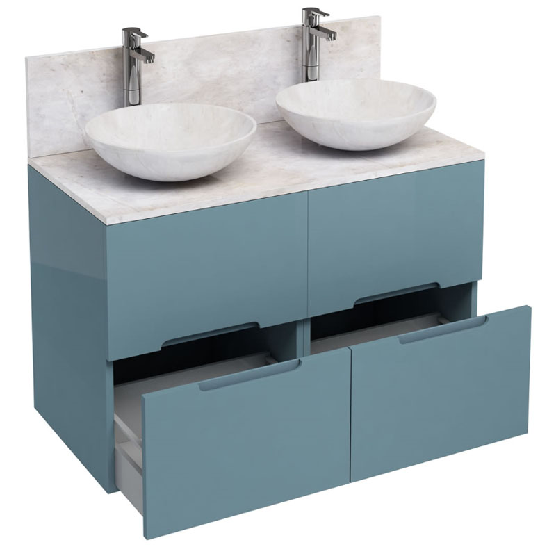 1000mm Floor Standing Double Drawer Unit And Marble Round