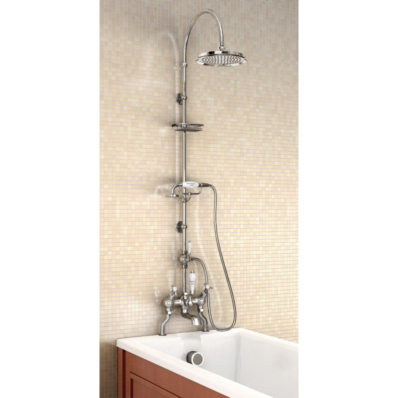 Angled Bath Shower Mixer With Rigid Riser Curved Shower