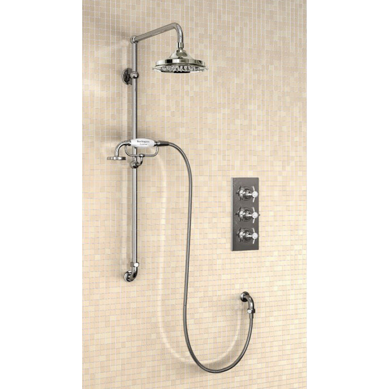 ... Clyde Concealed Thermostatic Valve, Vertical Riser, Outlet Elbow,  Straight Arm, 6
