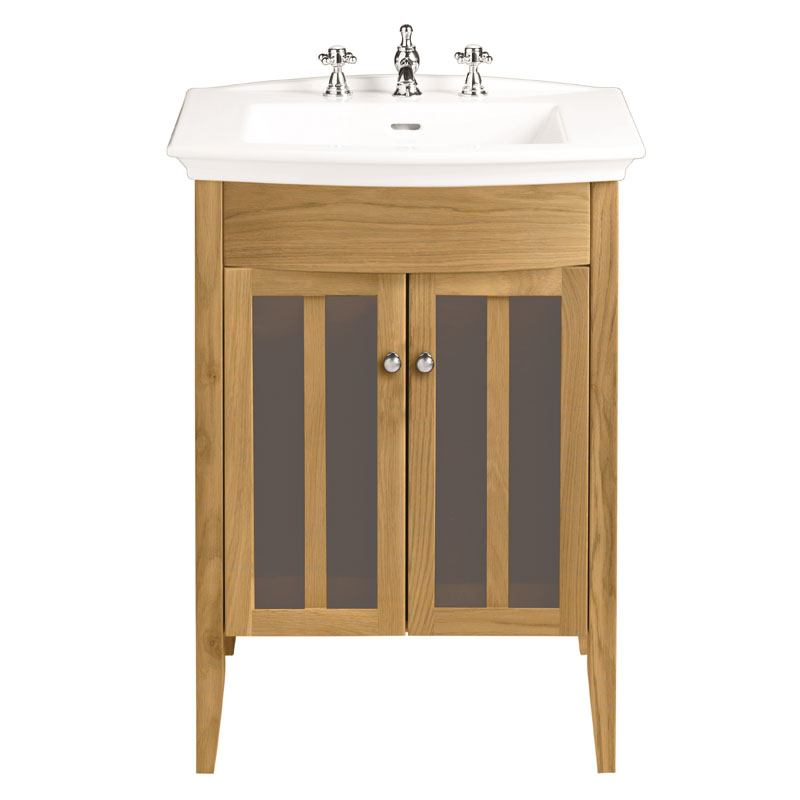 Heritage Vanity Unit With Blenheim Basin Oak Curved Fashionable And Stylish  Bathroom Accessory