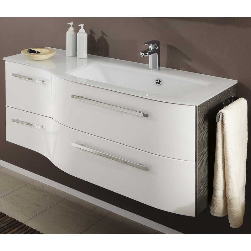 Contea 2 Draw 2 Door Vanity Unit Glass Basin 1190 X480 Right Hand Bathroo