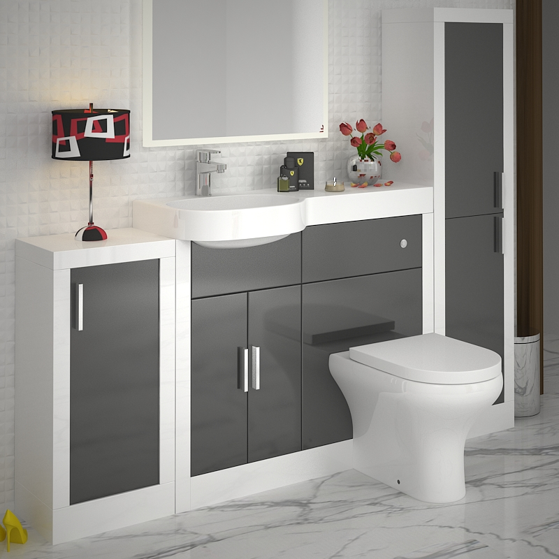 Unique Grey Gloss And Contrasting Walnut Fitted Bathroom Furniture  Ream