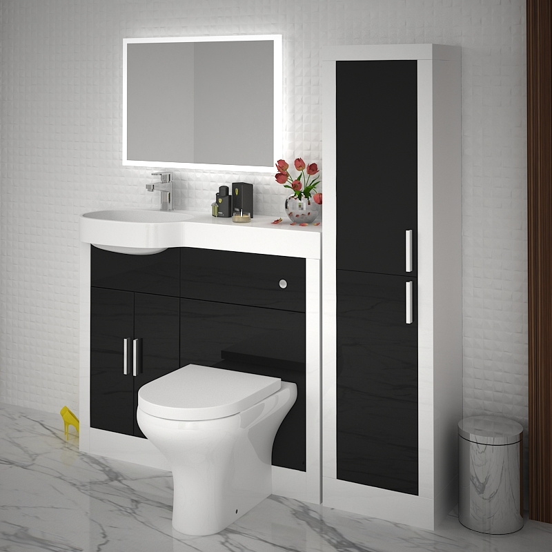 Apollo 1000 Unit White Carcass Black Front Buy Online At Bathroom City