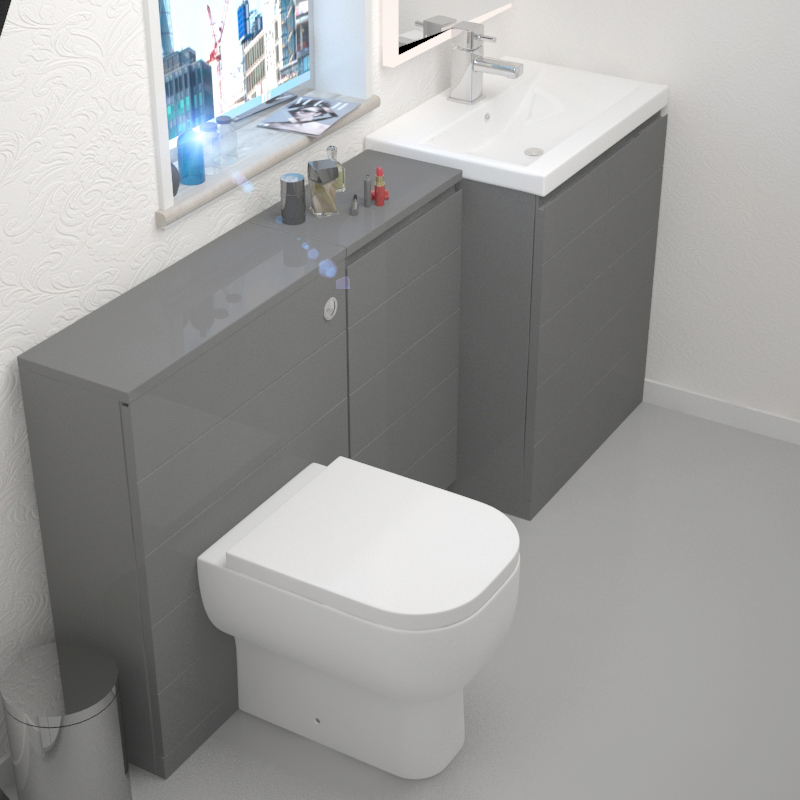 Amazing Mercury Grey 1610Mm Vanity Basin Storage Unit And Wc Unit Inc Toilet Home Interior And Landscaping Transignezvosmurscom