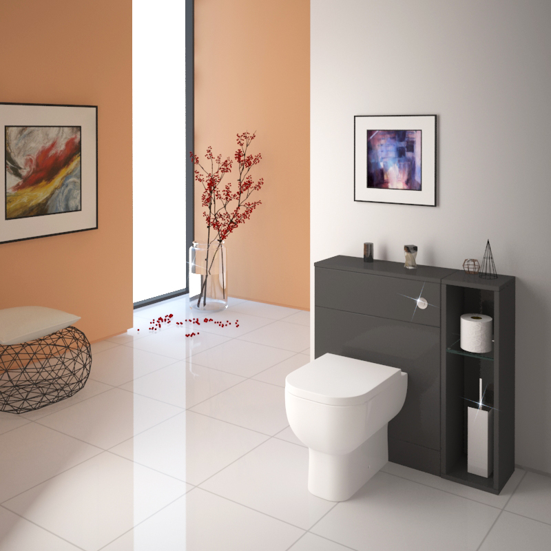 . Patello Back To Wall 800mm Combination Unit Grey