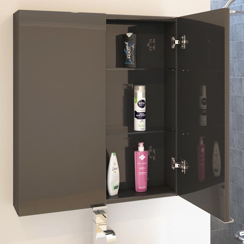Patello Grey 2 Door Wall Cabinet Glass Shelves Buy Online At Bathroom City