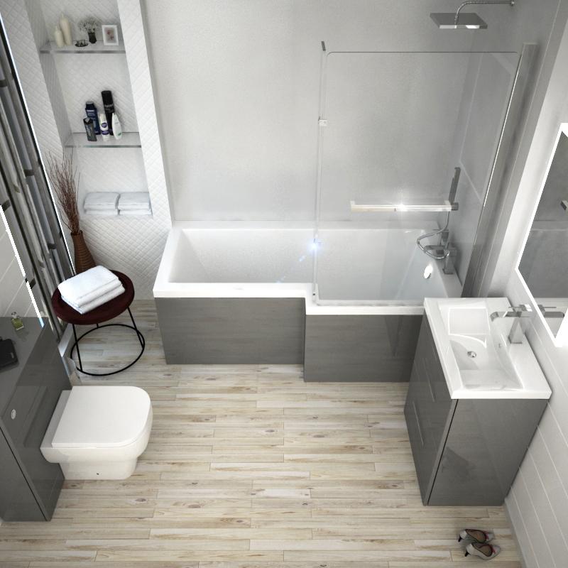 Patello Grey L Shape Shower Bath Suite Buy Online At