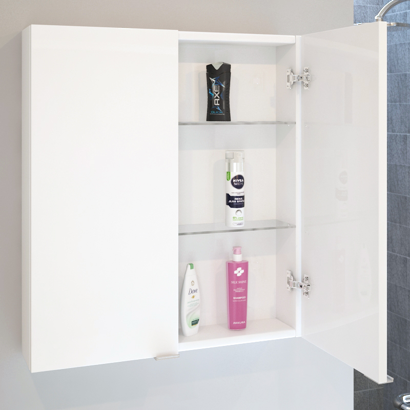 reputable site 02048 b1033 Patello White 2 Door Wall Cabinet Glass Shelves