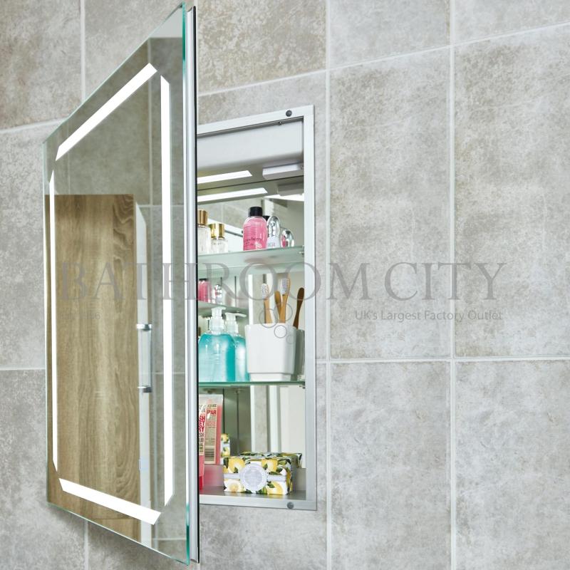 Solarium Recessed Mirror Cabinet With Internal Lighting