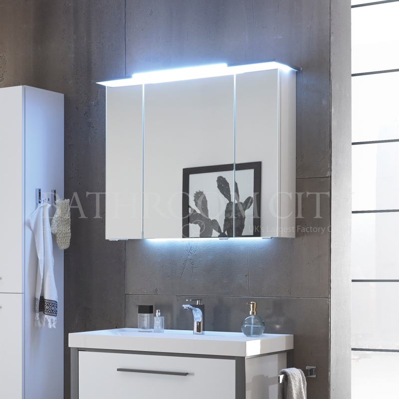 Buy Solitaire 9025 Bathroom Mirror Cabinet Incl Led Lights In Canopy