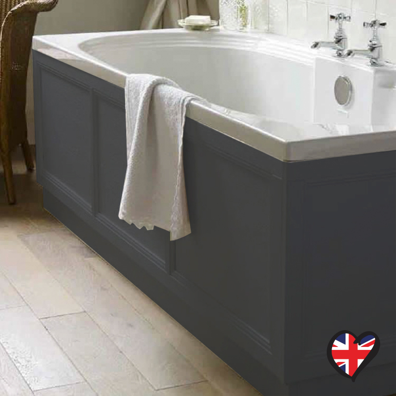 Insolito carolla 1700 bath panel charcoal grey buy online for Charcoal bathroom accessories