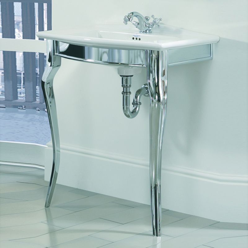 Oban Westminster Basin Stand Chrome with Vanity Basin 2TH Black