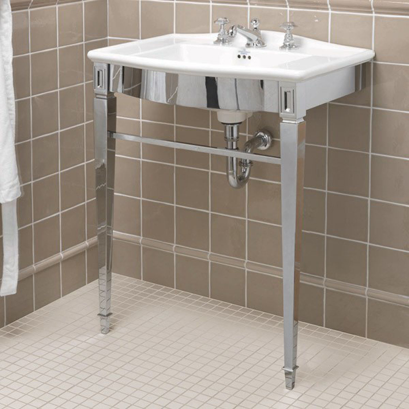 Westminster Vanity Basin 685mm 1TH Black with Adare Westminster Basin Stand Chrome