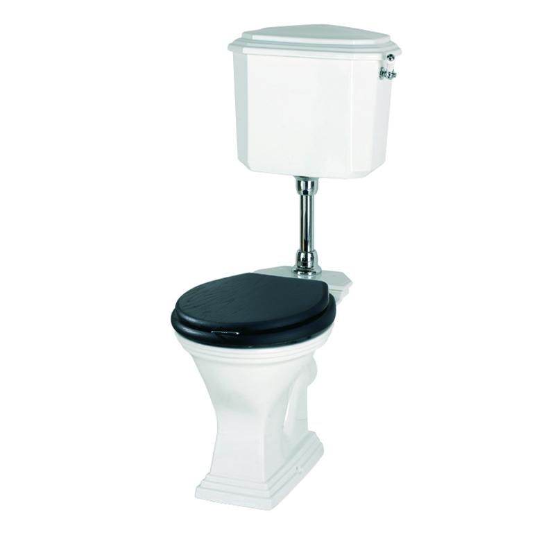 Astoria Deco Low Level Cistern White/Chrome with Pan Round Bowl White inc Seat