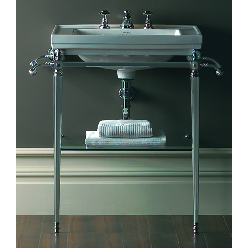Astoria Deco Large Basin 640mm White 3TH with Large Basin Stand Chrome
