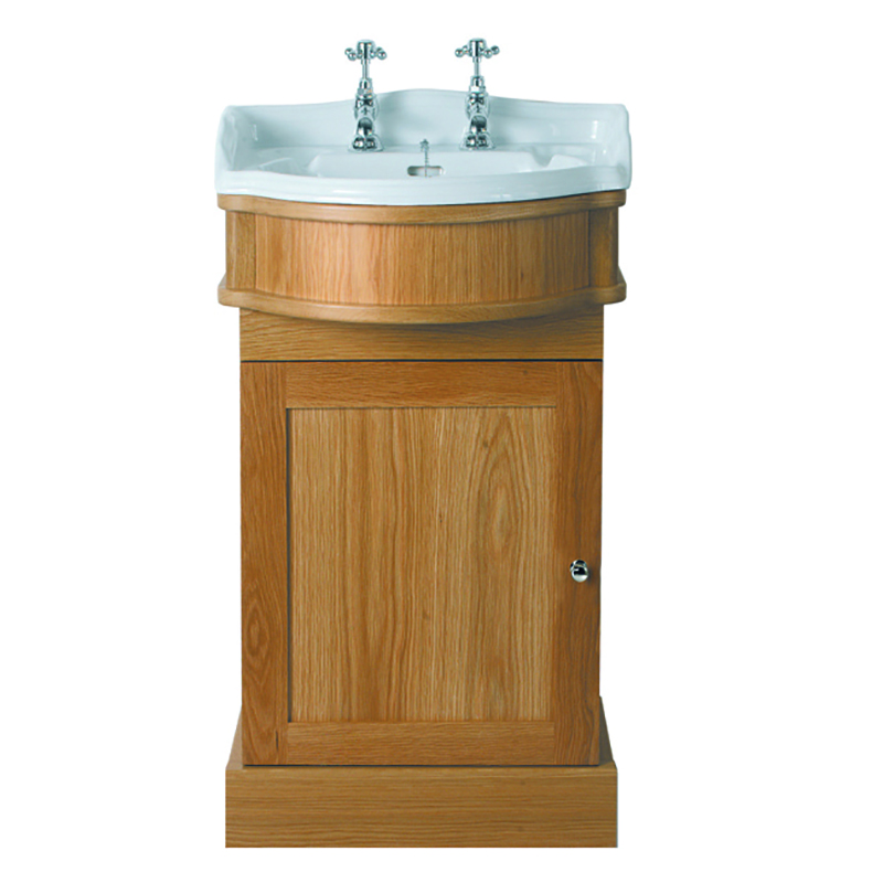Oxford Cloak Basin 1TH White with Oxford Cloak Vanity Unit 1 Door LH Natural Oak Finish