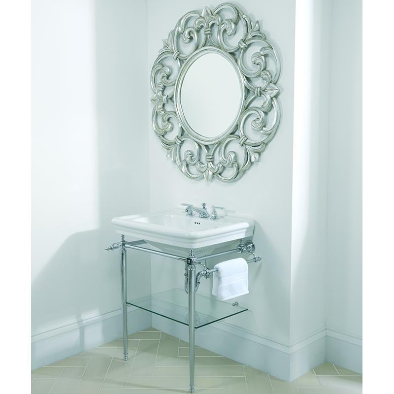 Large Basin 700mm 1TH White with Etoile Vergennes Basin Stand Polished Nickel
