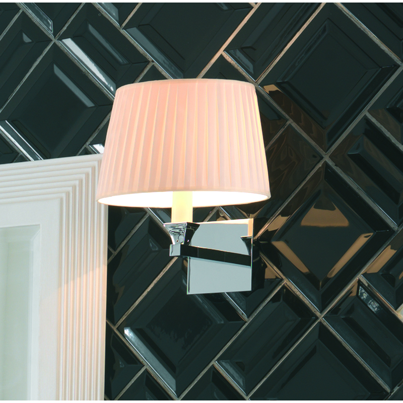 Astoria Wall Lamp with Round Flat Pleated Cream Cotton Shade