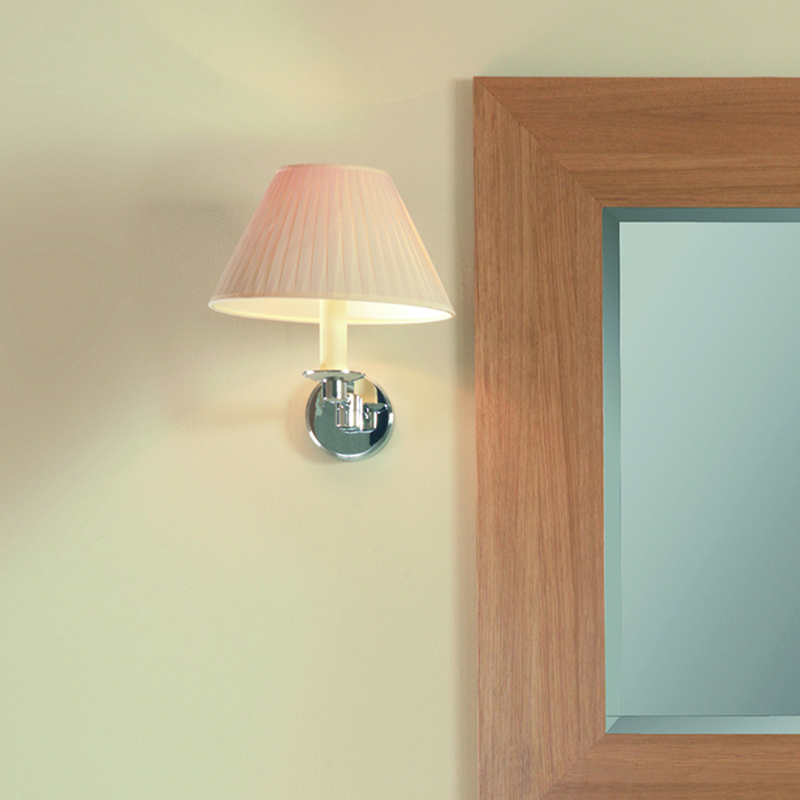 Brokton Wall Light with Flat Pleated Cream Cotton Shade