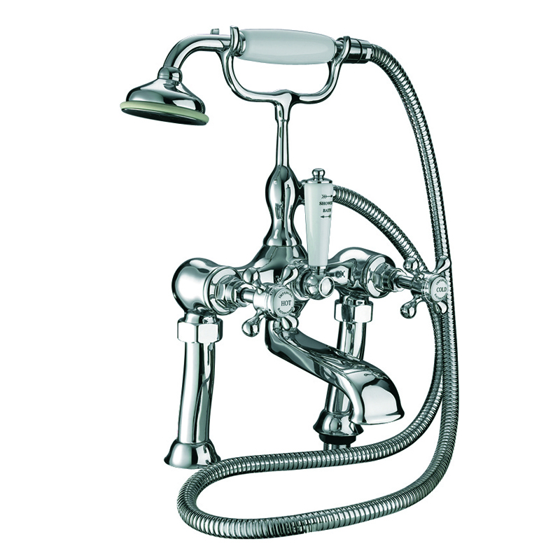 Victorian 3/4 Bath Shower Mixer Deck Mounted, Complete with Shower Kit Chrome