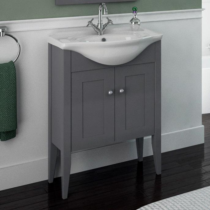 Insolito Carolla 65 Bathroom Vanity Unit And Basin (charcole Grey)