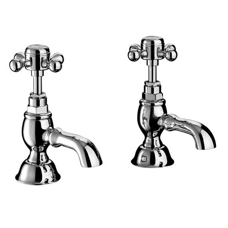 Victorian 1/2 Basin Pillar Taps Chrome