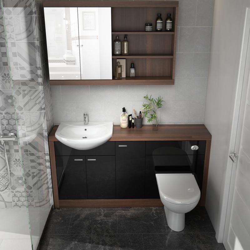 Lucido 1500 Vanity Unit Black Buy Online At Bathroom City