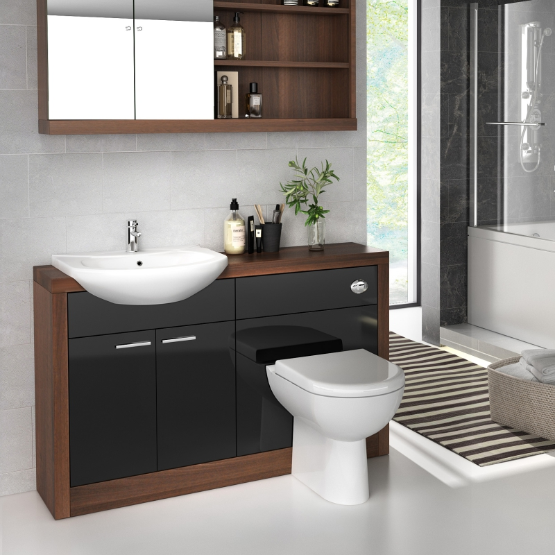 Lucido 1200 Vanity Unit Black Curved Modern And Stylish Bathroom Accessory