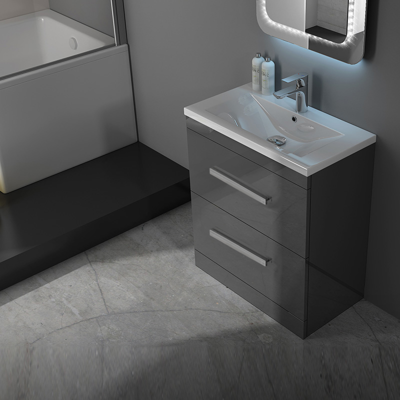 Patello 60 Grey Vanity Unit And Basin 2 Draws Buy Online At Bathroom City