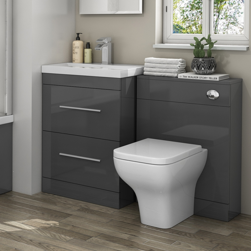 Patello 1200 bathroom furniture set grey buy online at for Bath sink and toilet packages