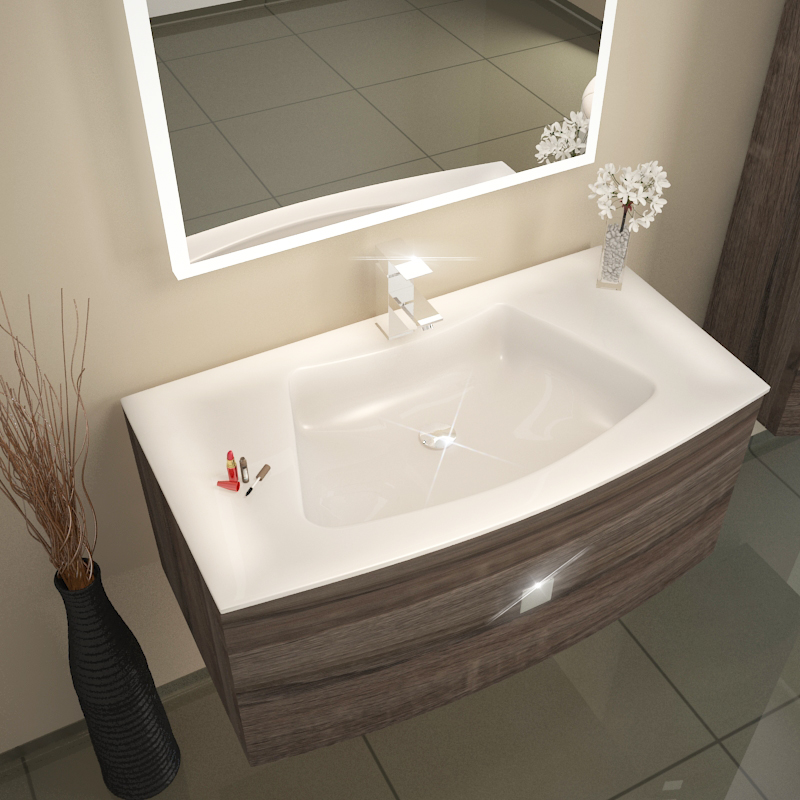 Shades Curve Wall Hung Vanity Unit 900mm Truffle And Glass