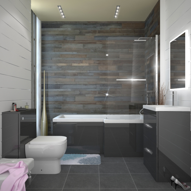 Patello grey shower bath suite buy online at bathroom city - Bathroom tile ideas bathroom ...