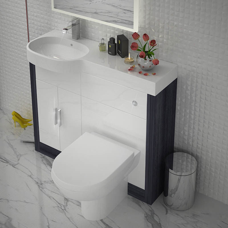 Hacienda 1000 combination vanity unit colour options lh for Bathroom combination vanity units