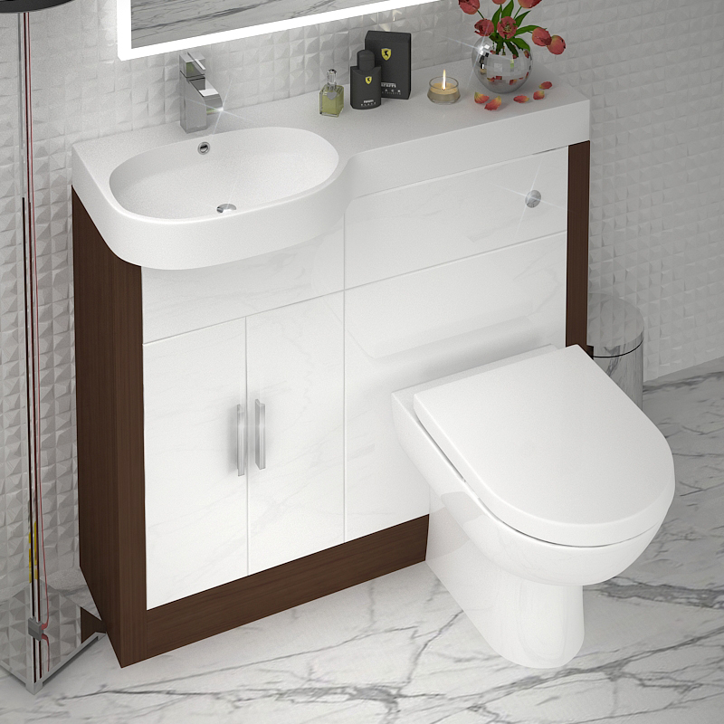 LUCIDO 1000 VANITY UNIT AND BASIN LH WHITE