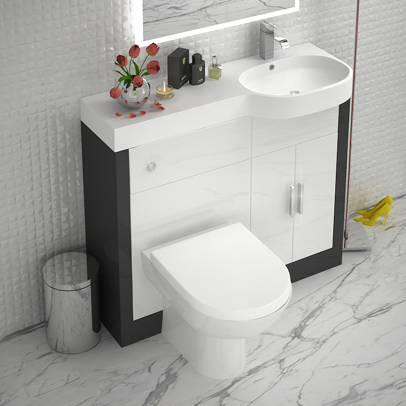 Grey 1000 vanity unit rh buy online at bathroom city for Bath sink and toilet packages