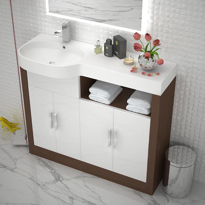 Lucido 1000 Double Storage Vanity Unit LH White