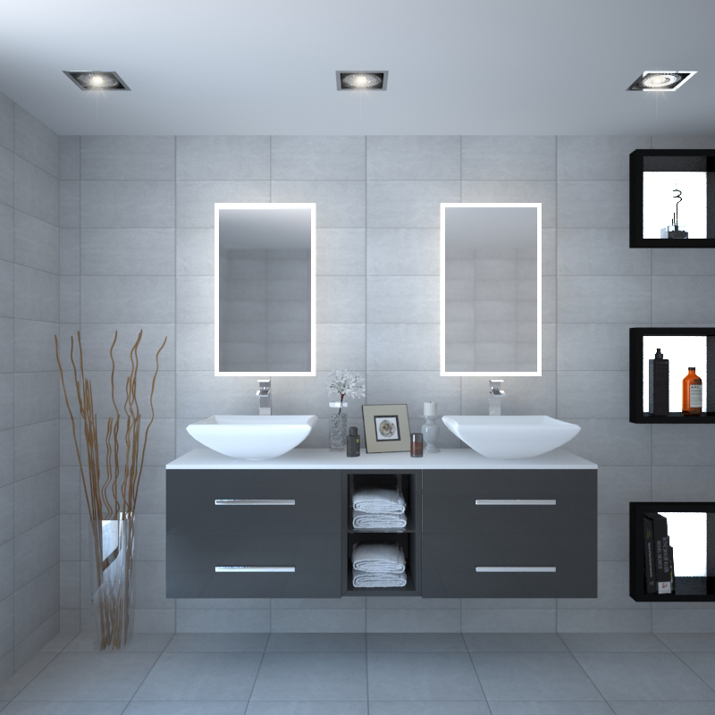 Sonix 1500 Glass Top Wall Hung Vanity Storage Unit Inc