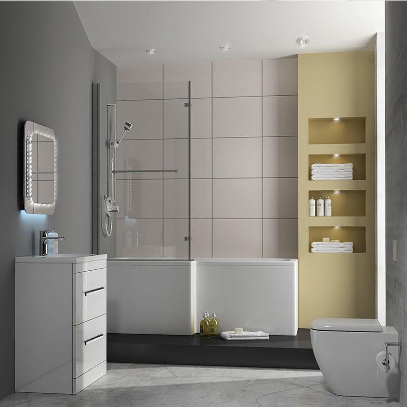 patello 60 white l shaped shower bath suite buy online at ailsa l shaped shower bath suite right hand