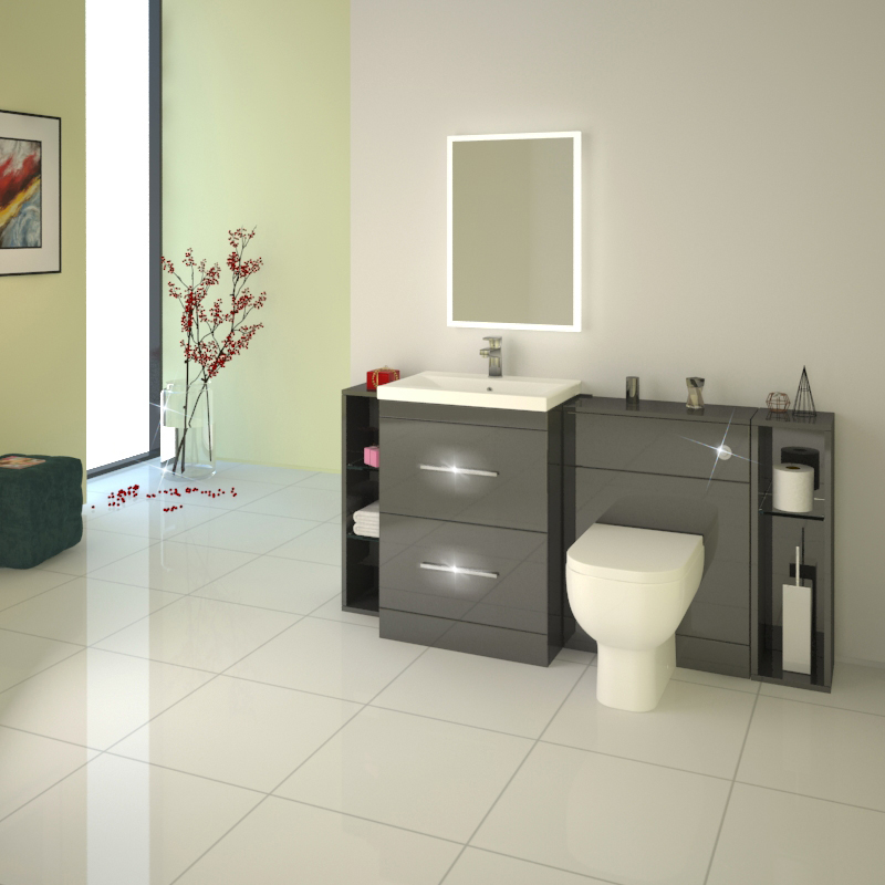 Patello 1600 Fitted Bathroom Furniture Grey Buy Online At