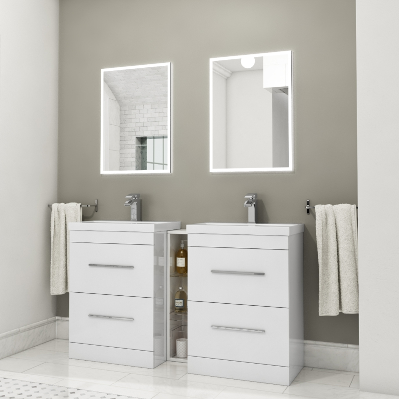 PATELLO 1400 DOUBLE VANITY UNIT WHITE
