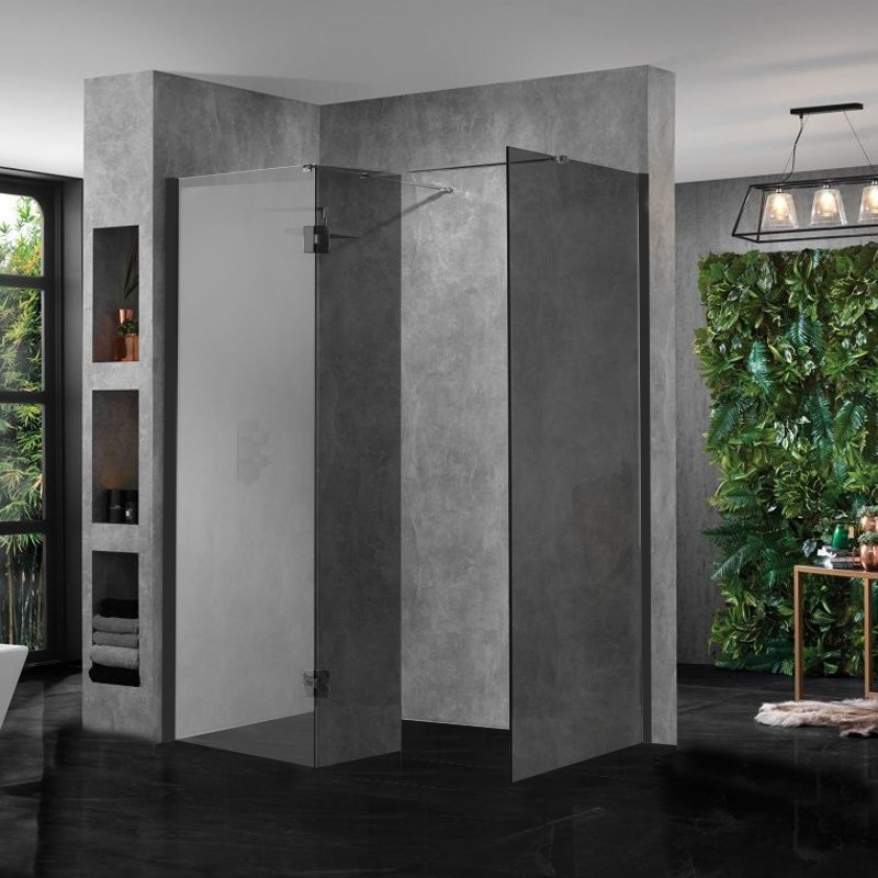 Wetroom Walk In Shower Enclosure Black Glass 10mm And