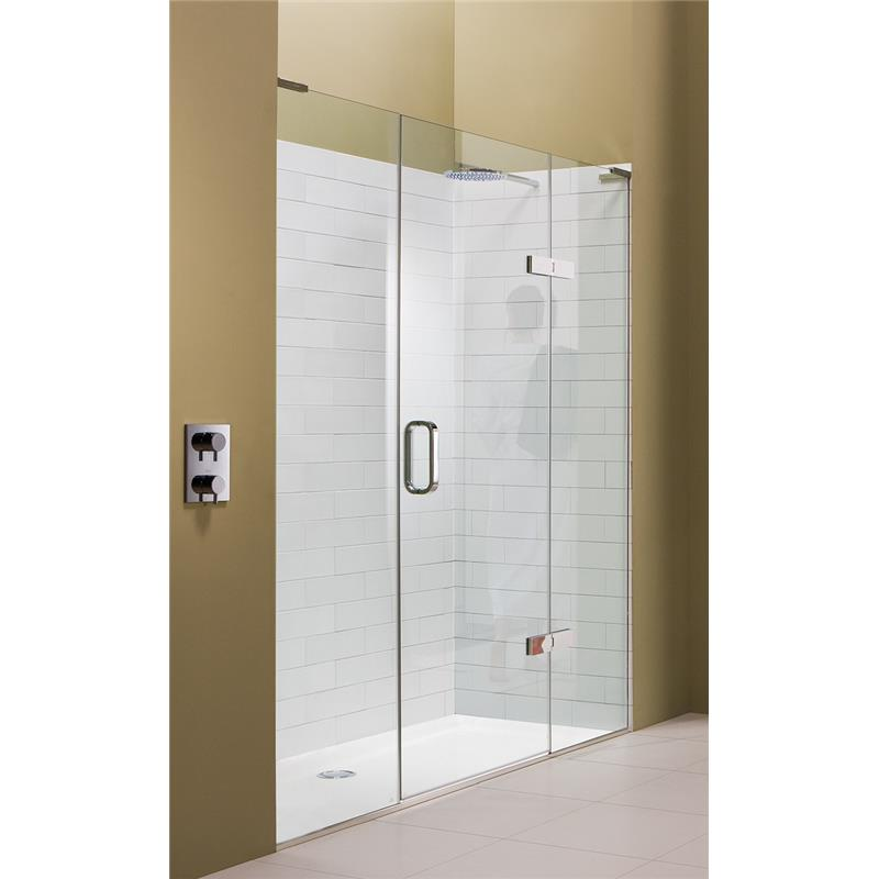 Eauzone hinged door with hinge panel and inline panel for for 1300mm shower door