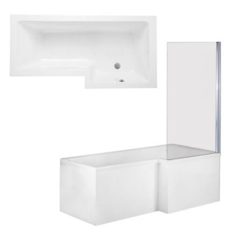QUBE Shower Bath Front, End Panels & Double Hinged Shower Screen Right Hand (L170 x W85 x (W70) x D40) 255 Litres
