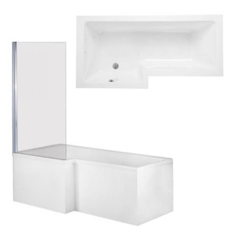 QUBE Shower Bath Front, End Panels & Double Hinged Shower Screen Left Hand (L170 x W85 x (W70) x D40) 255 Litres