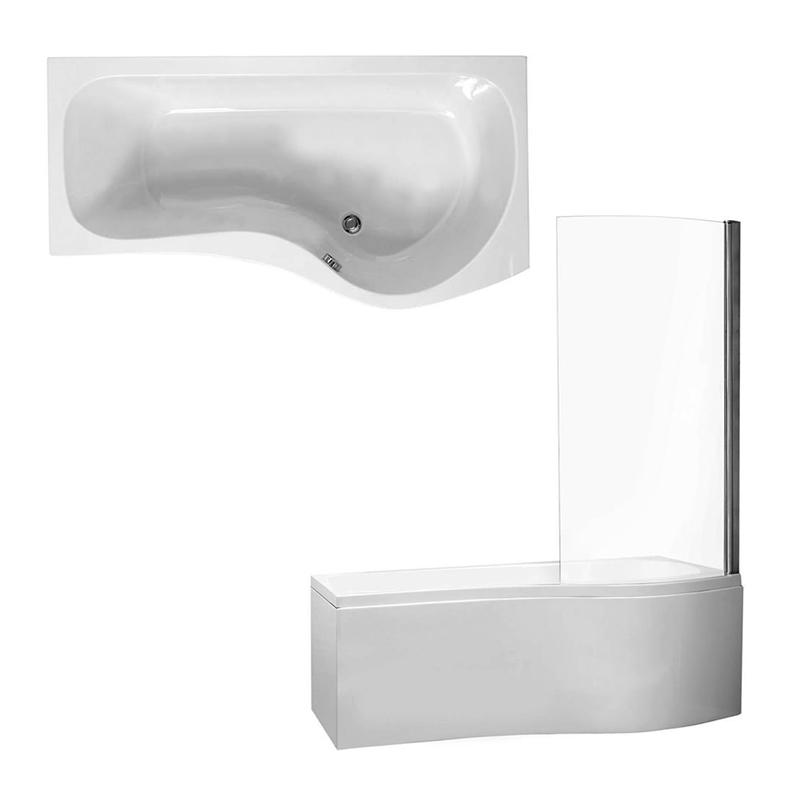 CAPRI Shower Bath Front, End Panels & Shower Screen Right Hand (L170 x W70 x (W70) x D40) 200 Litres