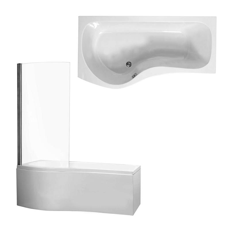CAPRI Shower Bath Front, End Panels & Shower Screen Left Hand (L170 x W70 x (W70) x D40) 200 Litres