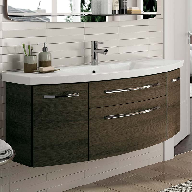 Unique Design 6001 Solitaire Bathroom Vanity Unit 2 Draw Door 1290