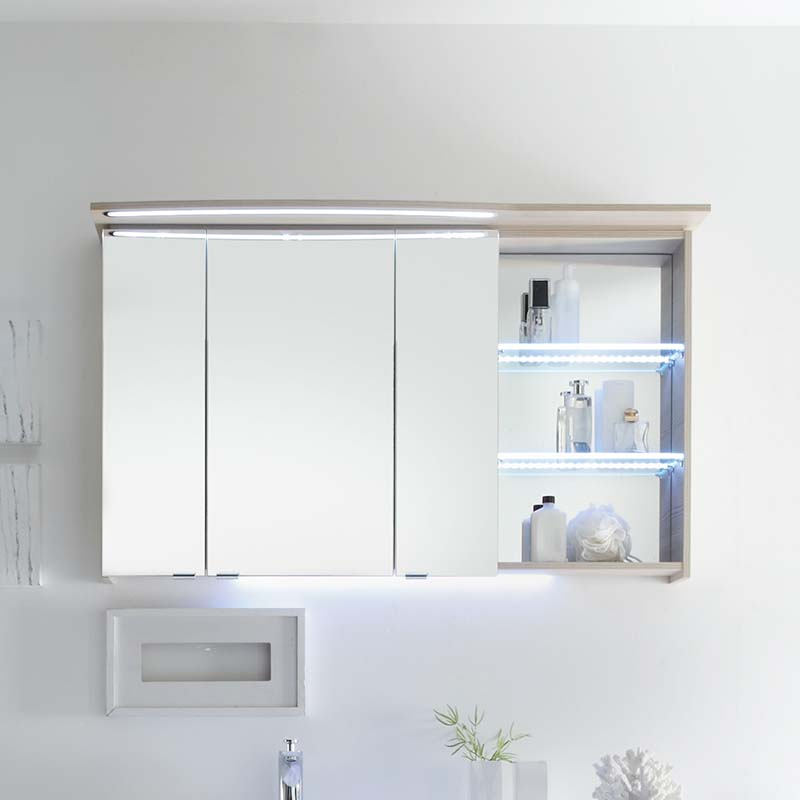 Bathroom Cabinets With Electrical Socket: Contea Bathroom Mirror Cabinet 3 Double Doors With
