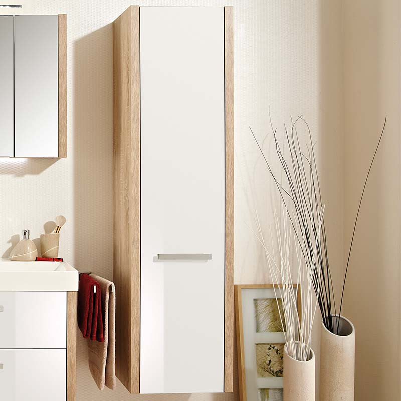Tall Bathroom Cabinet With Drawers: Lardo Tall Boy Bathroom Storage Cabinet 1 Door 2 Inner