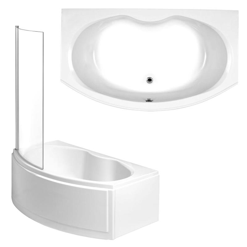 NAPOLI Shower Bath Front, End Panels & Shower Screen Left Hand (L170 x W97 x (W70) x D43) 275 Litres
